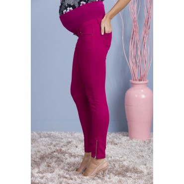 maternity wear zipper leg cotton gabardine pants
