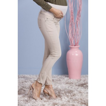 maternity wear zipper leg cotton gabardine pants