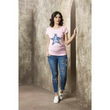Maternity Wear Star Embroidery Ruffle Jeans Pants