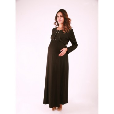 Pregnant Leather Bagging Buttoned Dress