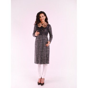 Wool Collar Pregnant Leather Combined Tunic