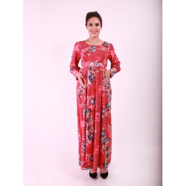 Pregnant peony Flower Long Dress