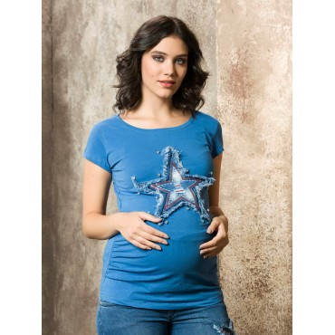 Pregnant Star Embroidery T-Shirt