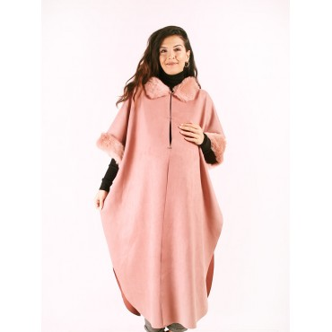 Pregnant Collar Sleeve Feather Long Nubuck Poncho