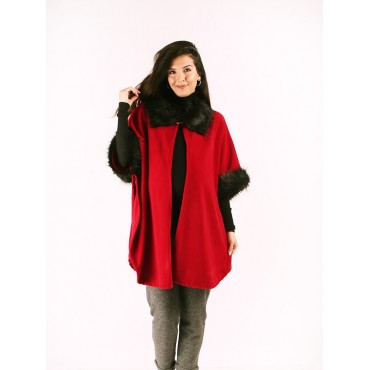 Collar Sleeve Feather Short Fleece Poncho