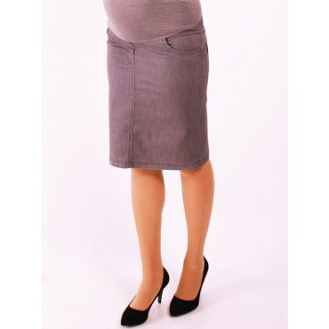 Maternity denim mini skirt without a belt