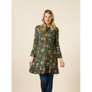 Embroidery Floral Wool Tunic