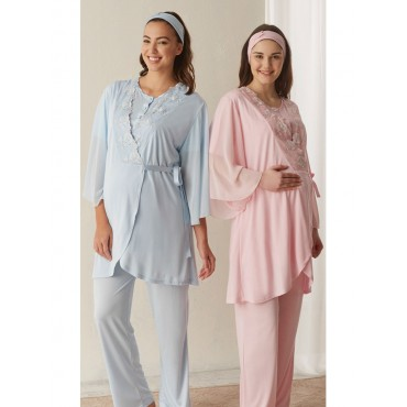 Maternity Cloth Collar Embroidered Triple Pajamas Team