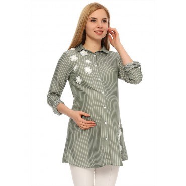 Maternity Clothes Striped Daisy Embroidery Shirt