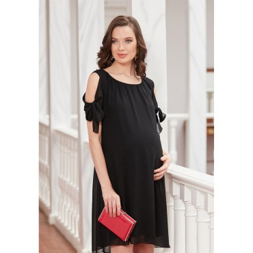Shoulder Detailed Chiffon Shower Mini Pregnant Dress