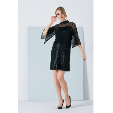 Pregnant Judge Collar Sequins Dress