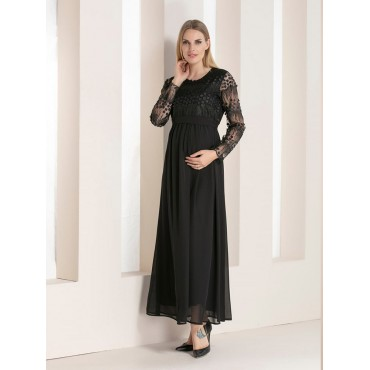 Pregnant Silvery Laser Sleeve Maxi Evening Dress