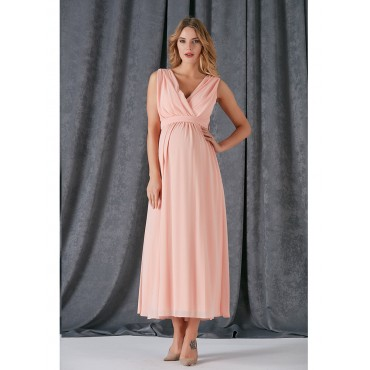 Double-breasted Collar Full-Length Evening Dress