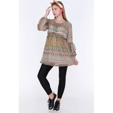 Digital Pattern Maternity Chiffon Tunic