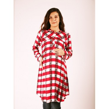 Maternity Clothing Plaid Viscose Tunic