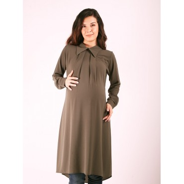 Maternity Clothing Off Collar Crep Tunic
