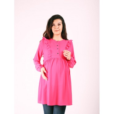 Maternity Clothing Ruffle Collar Crepe Blouse