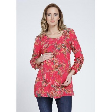 Pleated Chiffon Tunic Mini Flower
