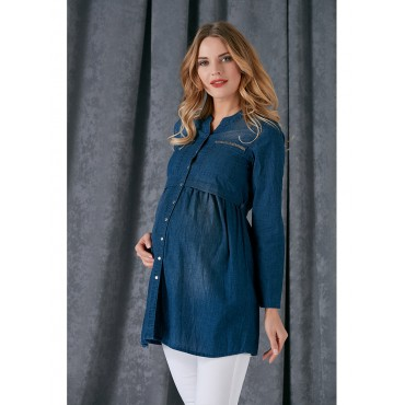 Pregnant Stone Pocket Jeans Shirt