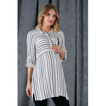 Pregnant Zipper Pocket Viscose Shirt
