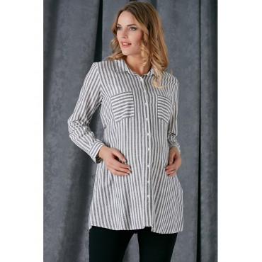 Pregnant Folding Sleeve Line Cotton Shirt