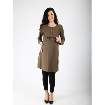 Pearl Buttoned Maternity Crep Tunic