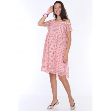 Mini Maternity Dress with Flower Neck