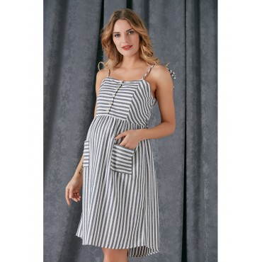 Pregnant Rope Strap Striped Dress