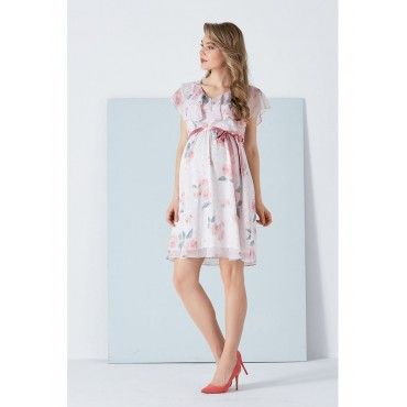 Double V Case with Roses Chiffon Dress