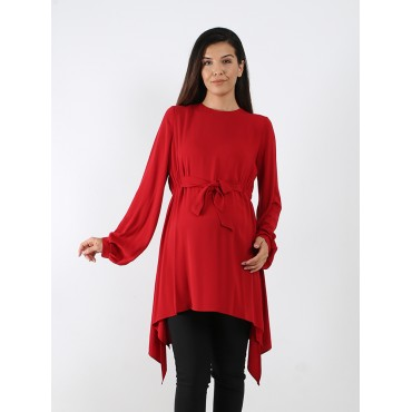 Asymmetric Tied Gizem Maternity Wear Tunic