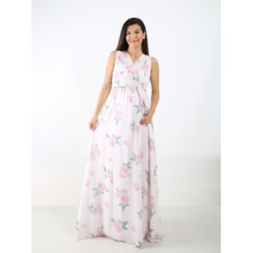 Double Breasted Rose Pleated Pregnant Chiffon Maxi Dress