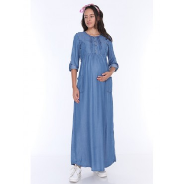 Tencel Breastfeeding Maxi Maternity Dress