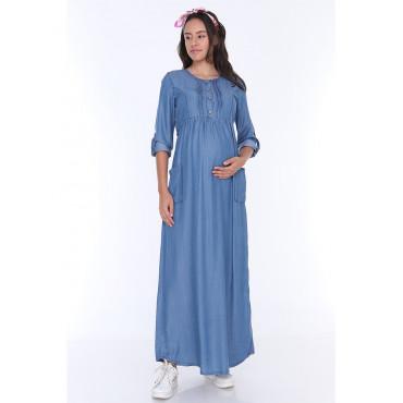 Tencel Breastfeeding Maxi Maternity Dress