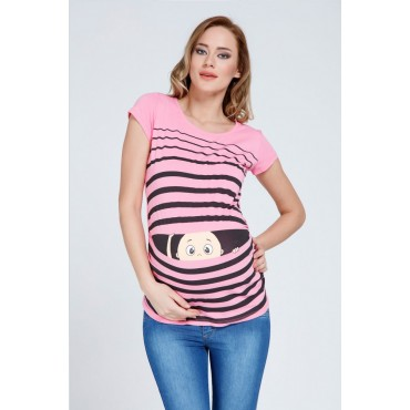 Maternity Clothes Striped Short-Sleeve T-Shirt