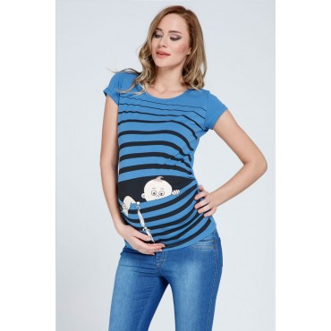 cunning escape humorous maternity wear striped t-shirt