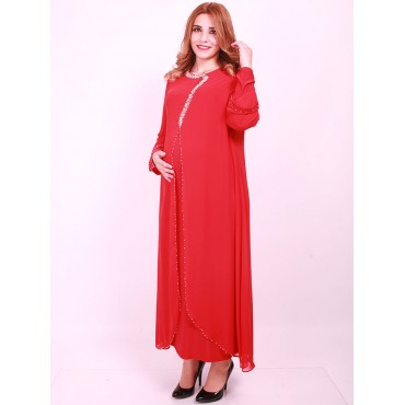 Boomerang Beads Large Size Maternity Wear Embroidered Evening Dresses