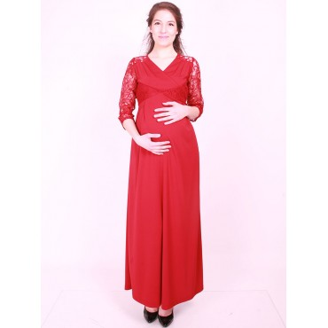 maternity wear double-breasted lace cocktail dress