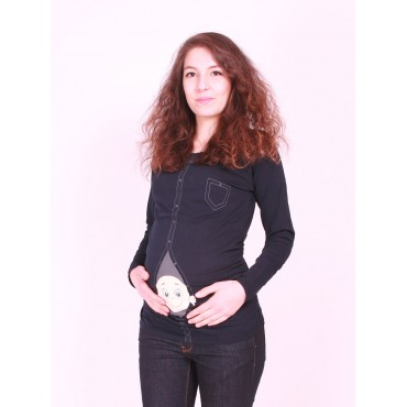 maternity wear sleeve button-facing infant t-shirts