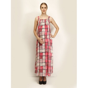 Maternity Plaid Shoulder Dress