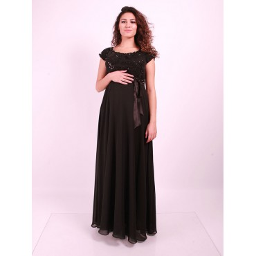 Rose Embroidered Pregnant Abiye Dress