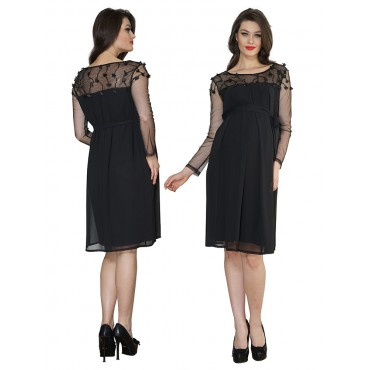 Maternity Wear Embroidered Tulle Beads Evening Dress Kombi