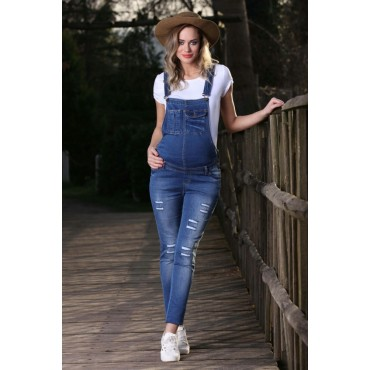 maternity wear torn narrow-leg jeans gardener pants