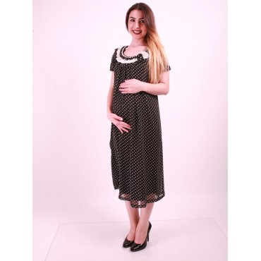Pregnant Clothing Bead Collar Point Siphon Dress