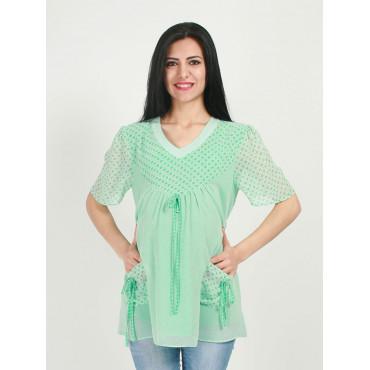Maternity Wear Pattern Short Sleeve Chiffon Tunic