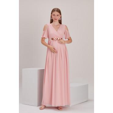 Peony Belt Baby Shower Chiffon Dress