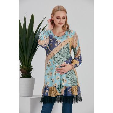 Lace Skirt Floral Pattern Maternity Chiffon Tunic