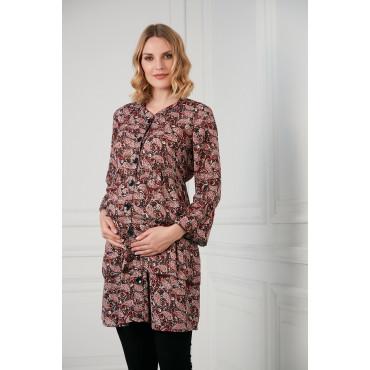 Paisley Pattern Breastfeeding Maternity Viscose Shirt-Tunic