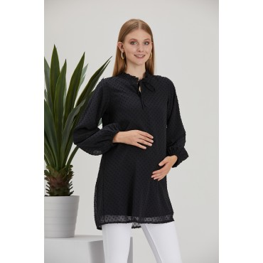 Tied Judge Collar See-through Points Maternity Tunic
