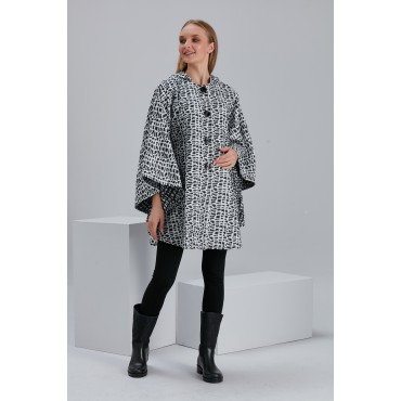 Leopard Pattern Hooded Stamp Maternity Poncho-Cap
