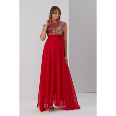 Pregnant Tulle Embroidery Abi Dress